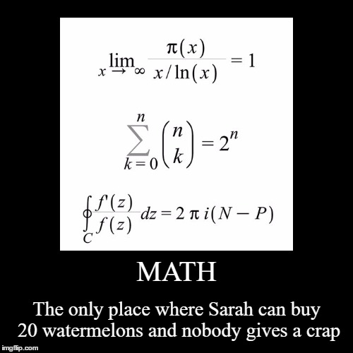MATH | The only place where Sarah can buy 20 watermelons and nobody gives a crap | image tagged in funny,demotivationals | made w/ Imgflip demotivational maker