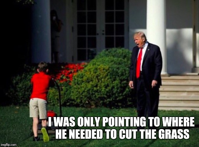 I WAS ONLY POINTING TO WHERE HE NEEDED TO CUT THE GRASS | made w/ Imgflip meme maker