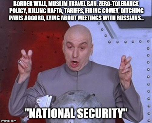 National Security Trumps Everything | BORDER WALL, MUSLIM TRAVEL BAN, ZERO-TOLERANCE POLICY, KILLING NAFTA, TARIFFS, FIRING COMEY, DITCHING PARIS ACCORD, LYING ABOUT MEETINGS WIT | image tagged in memes,dr evil laser,political meme,trump,trump travel ban | made w/ Imgflip meme maker