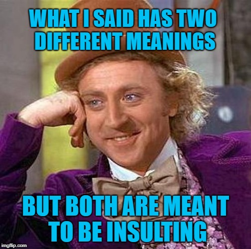 Condescending Insults |  WHAT I SAID HAS TWO DIFFERENT MEANINGS; BUT BOTH ARE MEANT TO BE INSULTING | image tagged in memes,creepy condescending wonka,insults | made w/ Imgflip meme maker