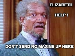 ELIZABETH HELP ! DON'T SEND NO MAXINE UP HERE | image tagged in esther  maxine waters | made w/ Imgflip meme maker