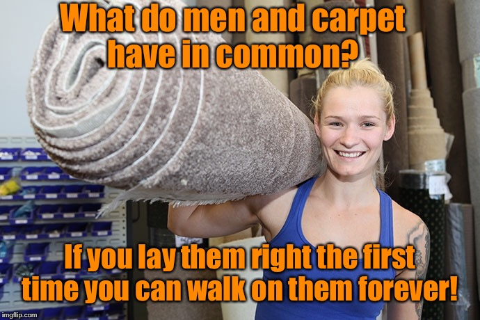 What do men and carpet have in common? If you lay them right the first time you can walk on them forever! | image tagged in funny memes,carpet,good job,jokes,drsarcasm | made w/ Imgflip meme maker