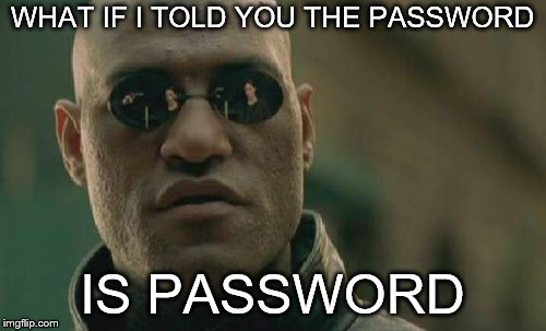 Matrix Morpheus Meme | WHAT IF I TOLD YOU THE PASSWORD IS PASSWORD | image tagged in memes,matrix morpheus | made w/ Imgflip meme maker