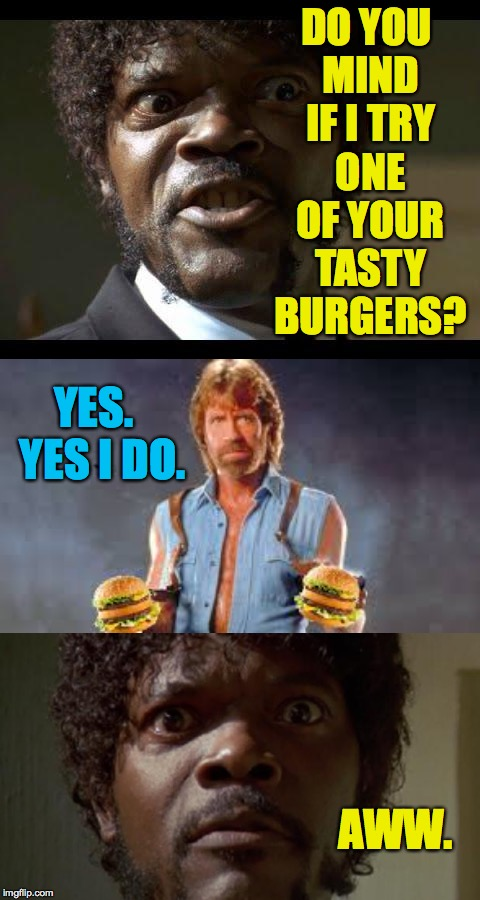 Sorry but I'm gonna need both of these burgers. | DO YOU MIND IF I TRY ONE OF YOUR TASTY BURGERS? AWW. YES.  YES I DO. | image tagged in memes,chuck norris,samuel l jackson | made w/ Imgflip meme maker