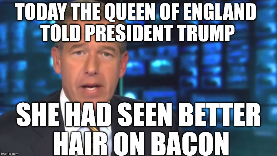 trumps hair | TODAY THE QUEEN OF ENGLAND TOLD PRESIDENT TRUMP SHE HAD SEEN BETTER HAIR ON BACON | image tagged in queen elizabeth,donald trump hair,bacon | made w/ Imgflip meme maker