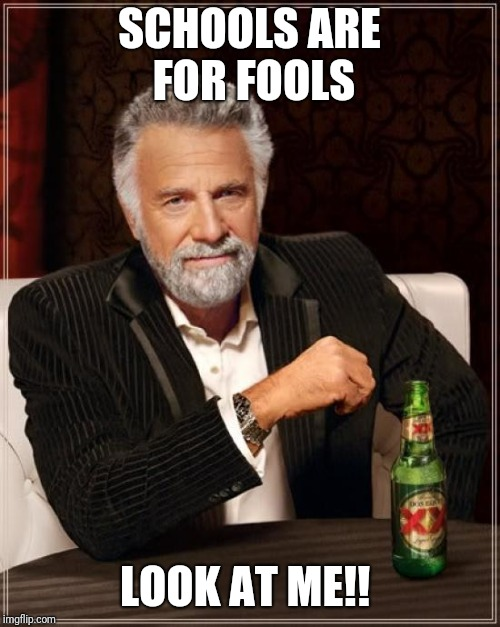 The Most Interesting Man In The World Meme | SCHOOLS ARE FOR FOOLS LOOK AT ME!! | image tagged in memes,the most interesting man in the world | made w/ Imgflip meme maker