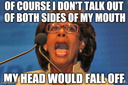 OF COURSE I DON'T TALK OUT OF BOTH SIDES OF MY MOUTH MY HEAD WOULD FALL OFF | image tagged in maxine waters | made w/ Imgflip meme maker