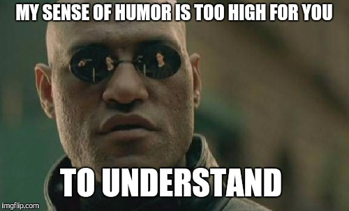 Matrix Morpheus Meme | MY SENSE OF HUMOR IS TOO HIGH FOR YOU TO UNDERSTAND | image tagged in memes,matrix morpheus | made w/ Imgflip meme maker