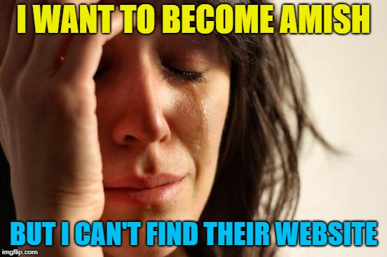 First World Problems Meme | I WANT TO BECOME AMISH BUT I CAN'T FIND THEIR WEBSITE | image tagged in memes,first world problems | made w/ Imgflip meme maker