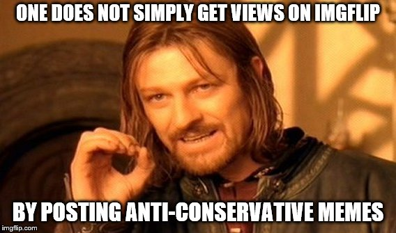 This place is has more conservatives than a Baptist Revival Meeting! Looks like he is predicting my upvote totals on this one! | ONE DOES NOT SIMPLY GET VIEWS ON IMGFLIP BY POSTING ANTI-CONSERVATIVE MEMES | image tagged in memes,one does not simply,conservative,liberal vs conservative,conservative hypocrisy | made w/ Imgflip meme maker
