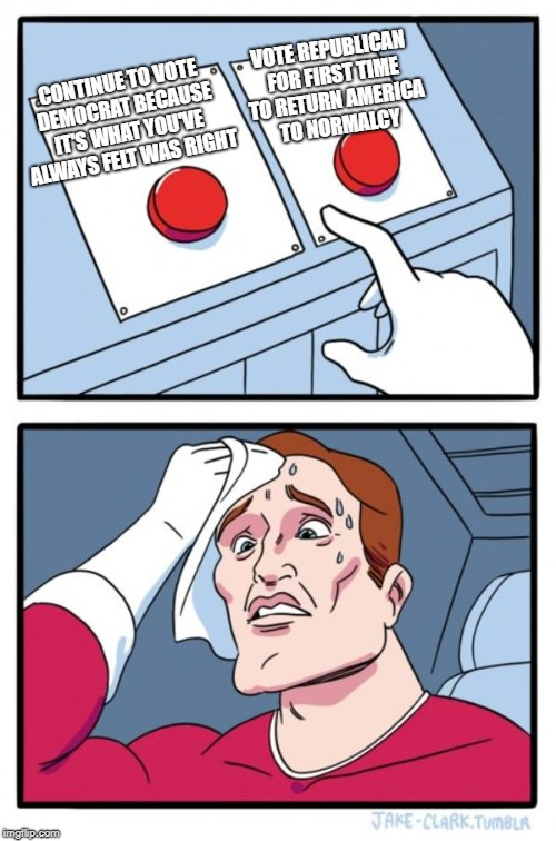 Not a tough decision at all | CONTINUE TO VOTE DEMOCRAT BECAUSE IT'S WHAT YOU'VE ALWAYS FELT WAS RIGHT VOTE REPUBLICAN FOR FIRST TIME TO RETURN AMERICA TO NORMALCY | image tagged in liberals,elections | made w/ Imgflip meme maker