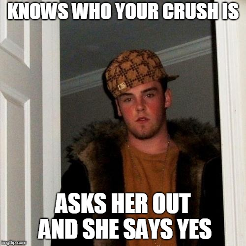 Scumbag Steve | KNOWS WHO YOUR CRUSH IS ASKS HER OUT AND SHE SAYS YES | image tagged in memes,scumbag steve,curry2017 | made w/ Imgflip meme maker