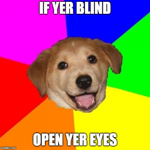 Advice Dog Meme | IF YER BLIND OPEN YER EYES | image tagged in memes,advice dog | made w/ Imgflip meme maker