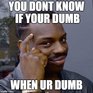 Thinking Black Guy | YOU DONT KNOW IF YOUR DUMB WHEN UR DUMB | image tagged in thinking black guy | made w/ Imgflip meme maker