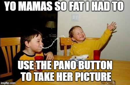 Yo Mamas So Fat Meme | YO MAMAS SO FAT I HAD TO USE THE PANO BUTTON TO TAKE HER PICTURE | image tagged in memes,yo mamas so fat | made w/ Imgflip meme maker