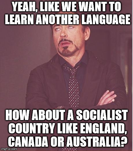 Face You Make Robert Downey Jr Meme | YEAH, LIKE WE WANT TO LEARN ANOTHER LANGUAGE HOW ABOUT A SOCIALIST COUNTRY LIKE ENGLAND, CANADA OR AUSTRALIA? | image tagged in memes,face you make robert downey jr | made w/ Imgflip meme maker