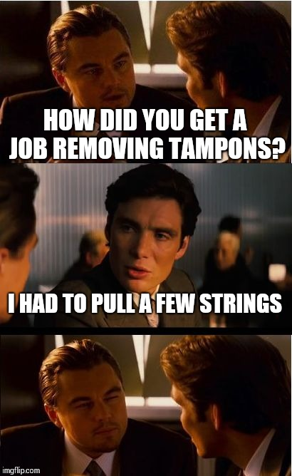 Inception Meme | HOW DID YOU GET A JOB REMOVING TAMPONS? I HAD TO PULL A FEW STRINGS | image tagged in memes,inception | made w/ Imgflip meme maker