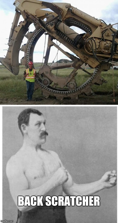 This is a pipeline trencher that will carve through bed rock | BACK SCRATCHER | image tagged in overly manly man | made w/ Imgflip meme maker