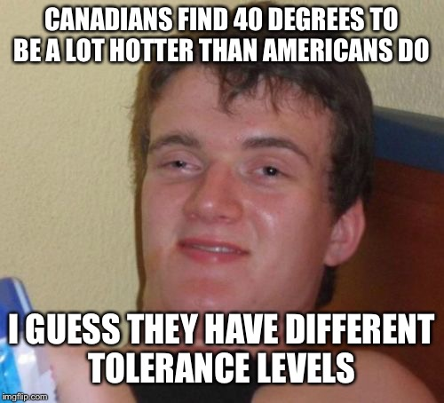 10 Guy Meme | CANADIANS FIND 40 DEGREES TO BE A LOT HOTTER THAN AMERICANS DO I GUESS THEY HAVE DIFFERENT TOLERANCE LEVELS | image tagged in memes,10 guy | made w/ Imgflip meme maker