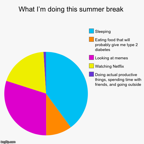 What I'm doing this summer break | Doing actual productive things, spending time with friends, and going outside, Watching Netflix, Looking  | image tagged in funny,pie charts | made w/ Imgflip pie chart maker