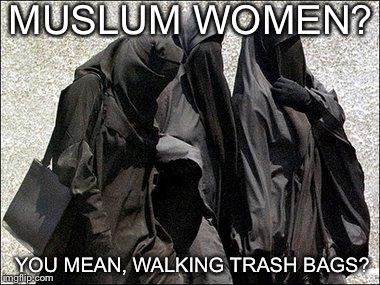 MUSLUM WOMEN? YOU MEAN, WALKING TRASH BAGS? | image tagged in islam babes | made w/ Imgflip meme maker
