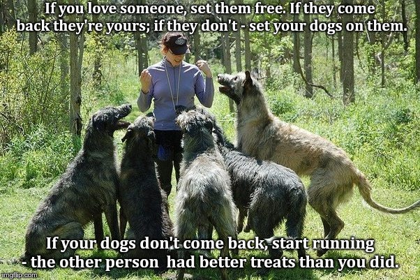 If you love someone, set them free. If they come back they're yours; if they don't - set your dogs on them. If your dogs don't come back, st | image tagged in woman w/5 large wolfhounds | made w/ Imgflip meme maker