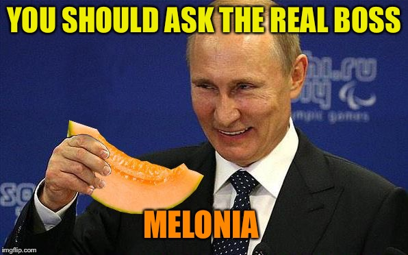 Putin Melon | YOU SHOULD ASK THE REAL BOSS MELONIA | image tagged in putin melon | made w/ Imgflip meme maker