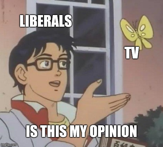 Is This A Pigeon Meme | LIBERALS TV IS THIS MY OPINION | image tagged in memes,is this a pigeon | made w/ Imgflip meme maker