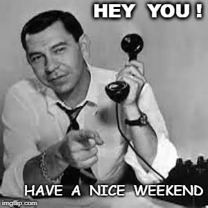 Joe Friday | HEY  YOU ! HAVE  A  NICE  WEEKEND | image tagged in joe friday | made w/ Imgflip meme maker