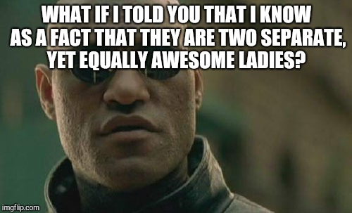 Matrix Morpheus Meme | WHAT IF I TOLD YOU THAT I KNOW AS A FACT THAT THEY ARE TWO SEPARATE, YET EQUALLY AWESOME LADIES? | image tagged in memes,matrix morpheus | made w/ Imgflip meme maker