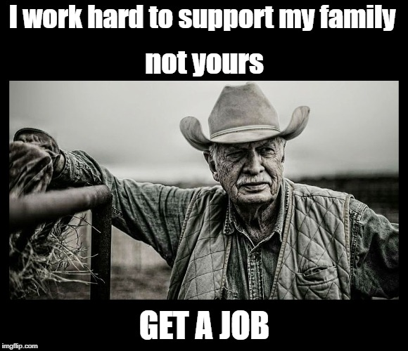 Just sayin... | I work hard to support my family GET A JOB not yours | image tagged in funny memes,irony,imgflip,get a job,sarcasm | made w/ Imgflip meme maker