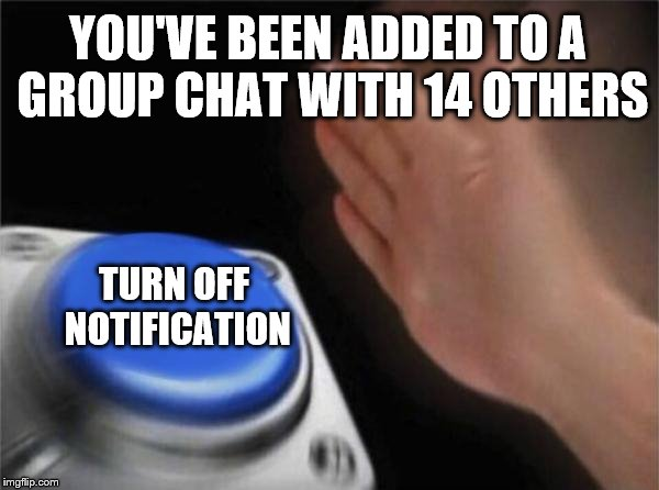 Turn off notification | YOU'VE BEEN ADDED TO A GROUP CHAT WITH 14 OTHERS TURN OFF NOTIFICATION | image tagged in memes,blank nut button,notifications,funny,chat,group chats | made w/ Imgflip meme maker
