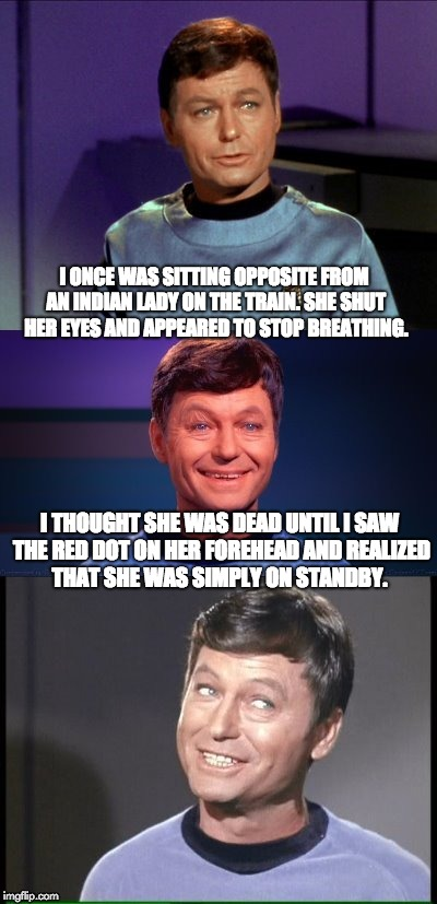 bad pun McCoy | I ONCE WAS SITTING OPPOSITE FROM AN INDIAN LADY ON THE TRAIN. SHE SHUT HER EYES AND APPEARED TO STOP BREATHING. I THOUGHT SHE WAS DEAD UNTIL | image tagged in bad pun mccoy | made w/ Imgflip meme maker
