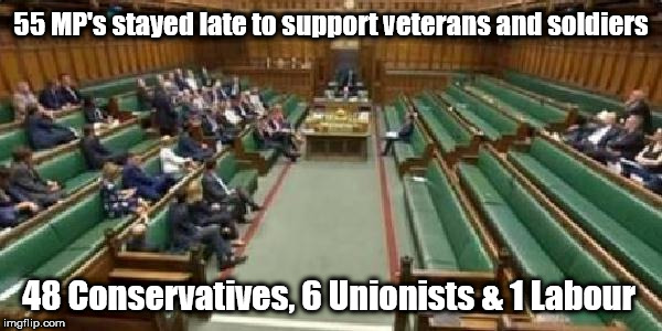 Labour - Weak on defence | 55 MP's stayed late to support veterans and soldiers 48 Conservatives, 6 Unionists & 1 Labour | image tagged in corbyn eww,communist socialist,party of hate,mcdonnell abbott,labour,defence | made w/ Imgflip meme maker