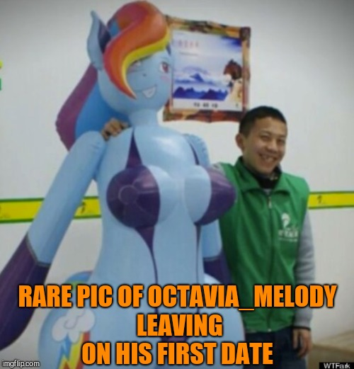 Such a handsome young man he was too lol :-)  | RARE PIC OF OCTAVIA_MELODY LEAVING ON HIS FIRST DATE | image tagged in jbmemegeek,octavia_melody,mlp,my little pony,brony,rainbow dash | made w/ Imgflip meme maker