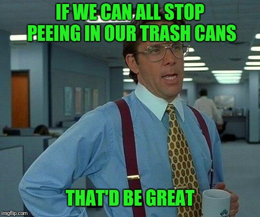 That Would Be Great Meme | IF WE CAN ALL STOP PEEING IN OUR TRASH CANS THAT'D BE GREAT | image tagged in memes,that would be great | made w/ Imgflip meme maker