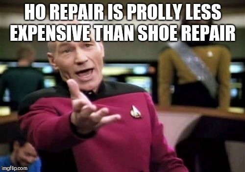 Picard Wtf Meme | HO REPAIR IS PROLLY LESS EXPENSIVE THAN SHOE REPAIR | image tagged in memes,picard wtf | made w/ Imgflip meme maker