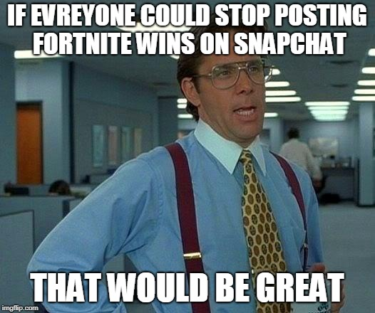 That Would Be Great Meme | IF EVREYONE COULD STOP POSTING FORTNITE WINS ON SNAPCHAT THAT WOULD BE GREAT | image tagged in memes,that would be great | made w/ Imgflip meme maker