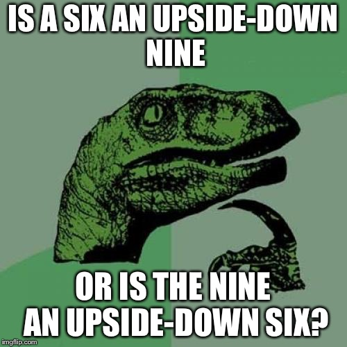 Such mystery... | IS A SIX AN UPSIDE-DOWN NINE OR IS THE NINE AN UPSIDE-DOWN SIX? | image tagged in memes,philosoraptor,upside-down,numbers | made w/ Imgflip meme maker