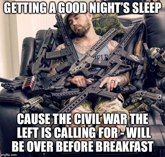Civil war? | GETTING A GOOD NIGHT'S SLEEP CAUSE THE CIVIL WAR THE LEFT IS CALLING FOR - WILL BE OVER BEFORE BREAKFAST | image tagged in civil war,leftists,politics | made w/ Imgflip meme maker