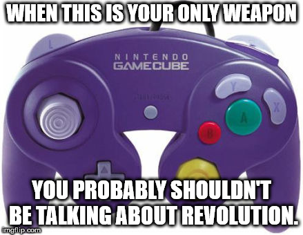 WHEN THIS IS YOUR ONLY WEAPON YOU PROBABLY SHOULDN'T BE TALKING ABOUT REVOLUTION. | image tagged in video game controller | made w/ Imgflip meme maker