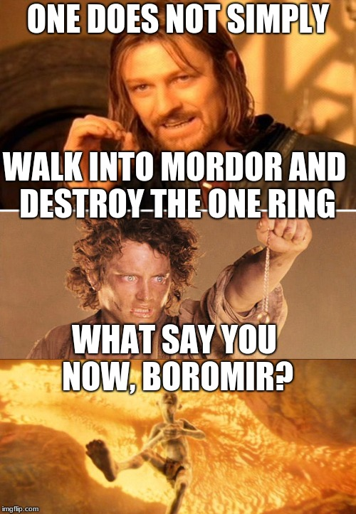 ONE DOES NOT SIMPLY WALK INTO MORDOR AND DESTROY THE ONE RING WHAT SAY YOU NOW, BOROMIR? | image tagged in one does not simply | made w/ Imgflip meme maker