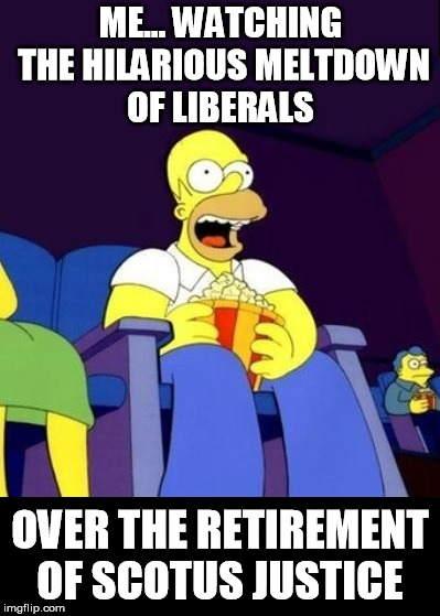 ME... WATCHING THE HILARIOUS MELTDOWN OF LIBERALS OVER THE RETIREMENT OF SCOTUS JUSTICE | image tagged in libtards,liberals,stupid liberals,crying democrats | made w/ Imgflip meme maker