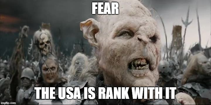 The basis of the USA's problems right now is fear and insecurity. | FEAR THE USA IS RANK WITH IT | image tagged in orc fear the city is rank with it,lotr,usa,america,fear,orcs | made w/ Imgflip meme maker