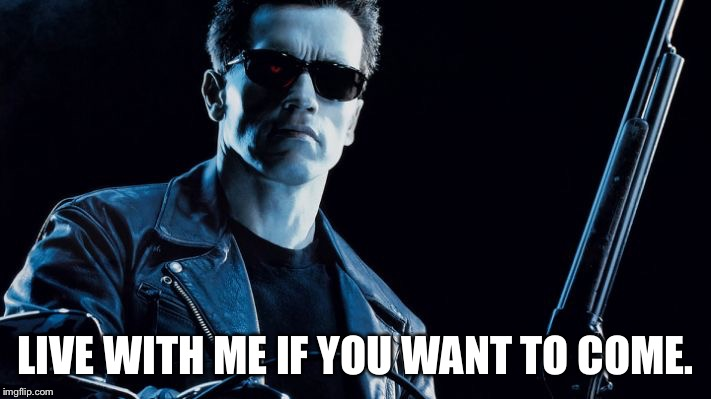 Terminator | LIVE WITH ME IF YOU WANT TO COME. | image tagged in terminator,terminator 2,arnold schwarzenegger | made w/ Imgflip meme maker