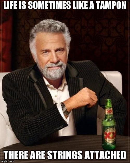The Most Interesting Man In The World Meme | LIFE IS SOMETIMES LIKE A TAMPON THERE ARE STRINGS ATTACHED | image tagged in memes,the most interesting man in the world | made w/ Imgflip meme maker