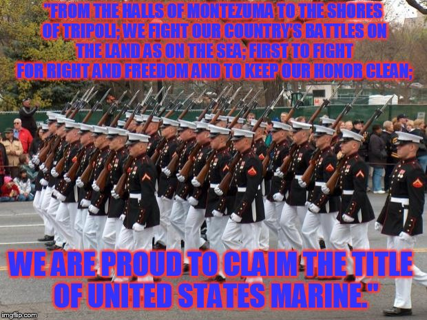 "#MarineCorpsHymn | ""FROM THE HALLS OF MONTEZUMATO THE SHORES OF TRIPOLI;WE FIGHT OUR COUNTRY'S BATTLESON THE LAND AS ON THE SEA;FIRST TO FIGHT FOR RIGHT AN 