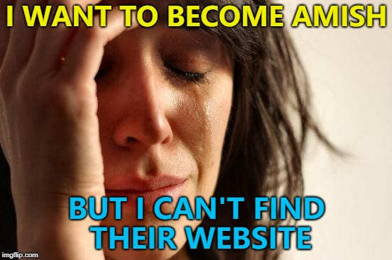 They need to get with the times... :)  | I WANT TO BECOME AMISH BUT I CAN'T FIND THEIR WEBSITE | image tagged in memes,first world problems,amish,technology | made w/ Imgflip meme maker