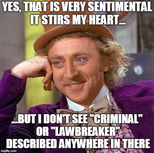 "Creepy Condescending Wonka Meme | YES, THAT IS VERY SENTIMENTAL IT STIRS MY HEART... ...BUT I DON'T SEE ""CRIMINAL"" OR ""LAWBREAKER"" DESCRIBED ANYWHERE IN THERE 