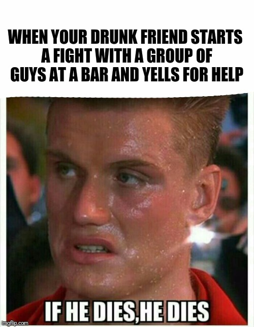 WHEN YOUR DRUNK FRIEND STARTS A FIGHT WITH A GROUP OF GUYS AT A BAR AND YELLS FOR HELP | image tagged in if he dies he dies | made w/ Imgflip meme maker